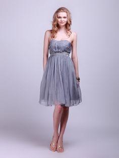 Strapless Empire Waist Silver Chiffon Bridesmaid Dress