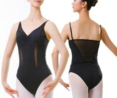 Ref.: A2041 This attractive mesh matached ballet leotard features mesh straight back and adjustable straps. Gathered front. Suitable for beginners and professional ballet dancers.