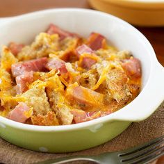 You only need six ingredients to serve this scrumptious breakfast bake tomorrow morning. After chilling overnight, all it takes is 30 to 35 minutes to get this hearty ham and cheese mix out of the oven and onto your plate.