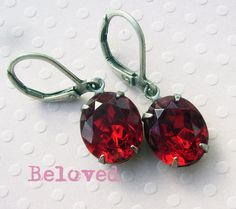 Valentine Red Rhinestone Earrings  Estate Style Vintage ~ 1 pair left ~ by accessoryalamode on etsy, $17.00