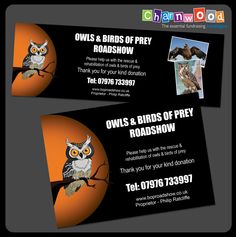 Labels designed and printed for Owls & Birds of Prey Roadshow.   If you are interested in our collection box and bucket labels please visit our website: www.charnwood-catalogue.co.uk  #charity #fundraising #fundraisingsupplies Custom Printed Labels, Printing Labels, Owl Bird, Birds Of Prey, Label Design, Owls, Fundraising, Charity, Bucket