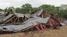 the old freestall barn after getting hit by heavy winds post MB (it stood at the top of the driveway behind the bunker silo)