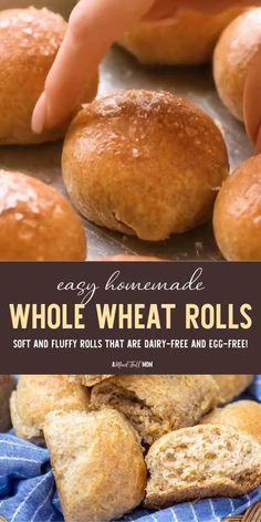 Whole Wheat Bagel, Whole Wheat Rolls, Whole Wheat Flour, Bread Recipe Video, Egg Free Bread Recipe, Homemade Rolls, Homemade Breads, Bread Machine Recipes, Wheat Flour Bread Machine Recipe