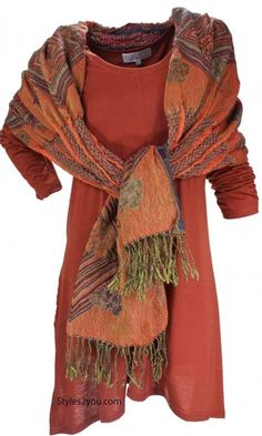 Betsy tunic in rust and a reversible scarf at Styles2you.com