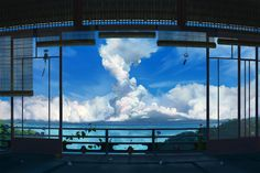 This HD wallpaper is about terrace rails and bamboo window blinds, anime, clouds, artwork, Original wallpaper dimensions is file size is