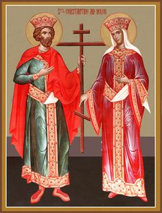 Sts Constantine the Great and Helen / St Constantine, Constantine The Great, Byzantine Icons, Byzantine Art, Saint Helens, Inspirational Bible Quotes, Orthodox Icons, Blessed Mother, Christian Art