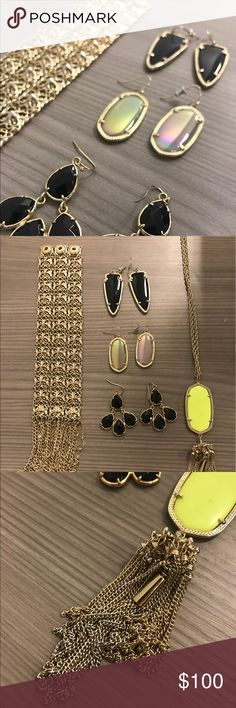 Kendra Scott LOT of 5 pieces!! Lot of 5 Kendra Scott pieces, bracelet, 3 pairs of earrings and 1 neon tassel necklace. Bracelet in perfect condition, tassels on necklace has some discoloration from tarnishing. Kendra Scott Jewelry Earrings