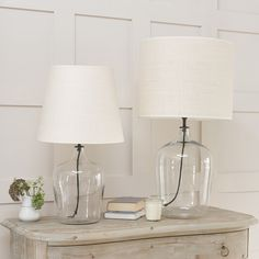Gorgeous Flagon bedside glass table lamps with linen lampshade