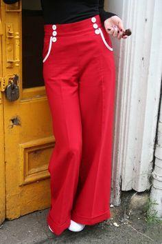 thegirlwhocouldnthula:  Wide-leg High Waist Red Trousers