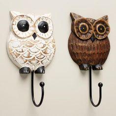 Wood Owl Hooks, Set of 2 | World Market