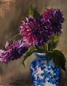 Burgundy Dahlias by Pamela C. Newell, Oil, 10 x 8 Paintings Famous, Classic Paintings, Oil Paintings, Flower Sketches, Blue Painting, Flower Oil, Beginner Painting, Abstract Flowers, Watercolor Art