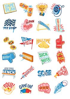 """It's Nice That's creative agency, INT Works briefed me to create a set of 24 texting stickers for Google's new chat based app called GoogleAllo.The theme for my set of stickerswas """"Sports Talk"""". You can download this set for free in Google Allo, along…"""