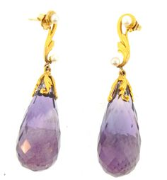 Large Scale Amethyst And Pearl Ear Drops