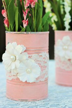 These two re-purposed tin cans are painted in a pink chalk paint and adorned wit. - These two re-purposed tin cans are painted in a pink chalk paint and adorned with paper flowers and - Shabby Chic Kitchen, Shabby Chic Homes, Shabby Chic Style, Shabby Cottage, Kitchen Rustic, Kitchen Ideas, Kitchen Decor, Kitchen Dresser, Shabby Chic Flowers