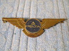 "VINTAGE DELTA AIRLINES JR STEWARDESS METAL FLIGHT WINGS  PIN 2.25"" LONG"