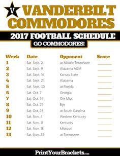 Printable Vanderbilt Commodores Football Schedule