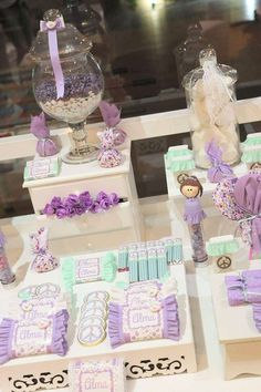 Shabby chic First Comunion Party Ideas Candy Party, Party Favors, Birthday Decorations, Baby Shower Decorations, Princess Sofia Party, First Communion Party, Shower Bebe, Festa Party, Candy Table