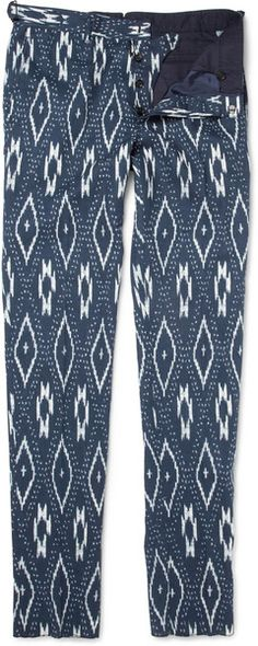 Burberry Prorsum -  Ikat-print Cotton and Linen-blend Trousers