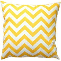 Premier Prints Yellow Chevron Pillow Cover- 16x16 inches- Hidden... ($17) via Polyvore