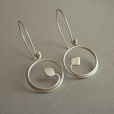 Ready to ship Le Petite Leaf Hoops Brushed by LunasaDesigns, $34.00