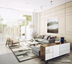 Modern Neutral Living Room Decor with Graphic Area Rug and Comfortable Grey  Sofa   Home and Interior Design Ideas21 Most Wanted Contemporary Living Room Ideas   Colorful living  . Modern Contemporary Living Rooms. Home Design Ideas