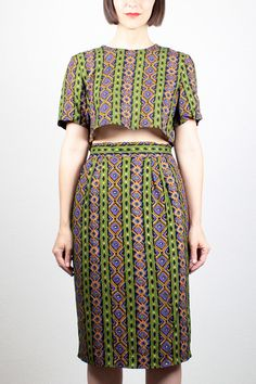 Vintage 80s Crop Top Pencil Skirt Set by ShopTwitchVintage on Etsy