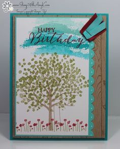 I love the new Sheltering Tree stamp set from the Stampin' Up! 2015 Occasions Catalog! I think that it's my favorite set...well, at least it's my favorite set today. ;) My card design was inspire...