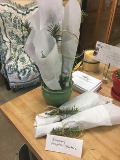 Herbal scented fireplace starters wrapped in parchment paper and tied with string