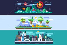 Landscapes of the future by TastyVector on Creative Market