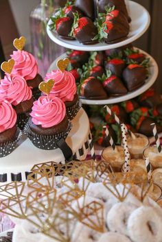 Gorgeous desserts from a Kate Spade bridal shower party! See more party planning ideas at CatchMyParty.com!