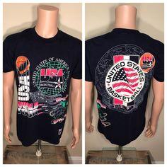 Vintage USA Basketball T-shirt Mens Size L Dream Team Olympics 1992 world  tour   6ef37578de44
