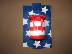 Patriotic hanging vase in Red White and Blue. by RusticXpressions