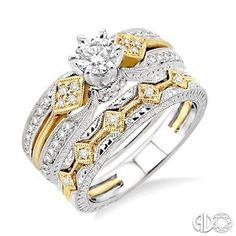 1 Ctw Diamond Wedding Set with 1 Ctw Round Cut Engagement Ring and 1/20 Ctw Wedding Band in 14K White and Yellow Gold