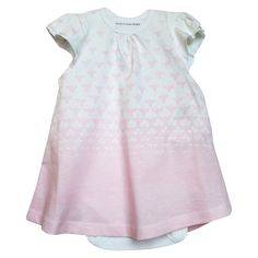 This set pairs a sweet flyaway dress with a ruffled bodysuit. The white dress has soft blossom pink bees print that disappear at the bottom in an ombre pattern and double layer flutter sleeves. The sleeveless lap shoulder bodysuit features a pink ruffle in the back that peaks through the back of the dress. The set is easy on and off with snap closures. Made of 100% certified organic cotton that is free of any pesticides.