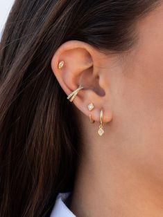 Diamond Earrings / Diamond Studs in Gold / Evil Eye Diamond Earrings / Evil Eye Jewelry / Gold Jewelry / Gift for Her - Fine Jewelry Ideas Pretty Ear Piercings, Ear Peircings, Ear Piercings Cartilage, Double Cartilage, Tongue Piercings, Body Piercings, Cartilage Earrings, Cuff Earrings, Etsy Earrings