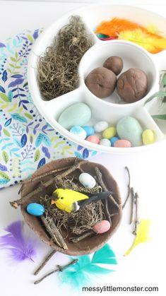 Build a bird nest craft. A fun nature craft and playdough activity for kids. Playdough Activities, Nature Activities, Toddler Learning Activities, Spring Activities, Craft Activities For Kids, Projects For Kids, Crafts For Kids, Bird Nest Craft, Bird Crafts
