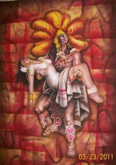 Aztec Art by Viciouz - Aztec Mural Popocteptl and Iztaccihuatl, $150.00 (http://www.aztecartbyviciouz.com/aztec-mural-popocteptl-and-iztaccihuatl/category)