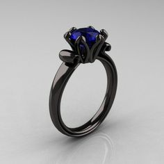 Antique 14K Black Gold 1.5 CT Blue Sapphire Designer Engagement Ring AR127-14KBGBS