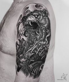 black and grey bear & deer tattoo halfsleeve design by @sakim__