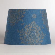 One of my favorite discoveries at WorldMarket.com: Blue Burlap with Metallic Print Table Lamp Shade