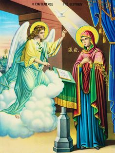 Annunciation Old Greek, Our Savior, Holy Mary, Religious Images, Orthodox Icons, Mother Mary, Virgin Mary, Ikon, Christ