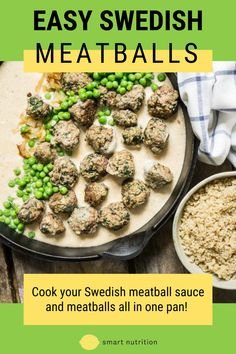 Cook your Swedish meatball sauce and meatballs all in one pan! Then serve over rice to soak up all that yumminess. #meatballs | easy meal | quick dinner | easy recipe | ground beef recipes | weeknight dinner | meal planning