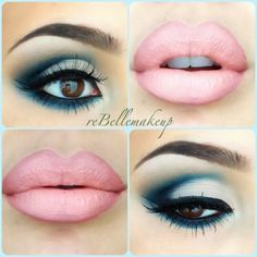 Blue eyeshadow and pinky nude lip