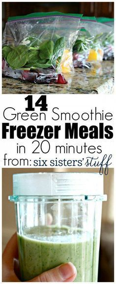 14 Green Smoothie Freezer Meals in 20 minutes from Six Sisters' Stuff   Simple but delicious green smoothie recipe to stash in the freezer for those mornings you need a quick and healthy breakfast!