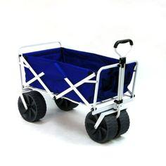 Mac Sports Heavy Duty Collapsible Folding All Terrain Utility Beach Wagon Cart, Blue/White