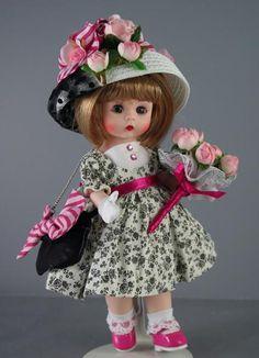 "Madame Alexander 2012 Premiere Souvenir doll ""Winner's Circle Wendy."" Shown with Breakfast Accessory Pack -Run for the Roses Antique Dolls, Vintage Dolls, Vintage Madame Alexander Dolls, Run For The Roses, Doll Display, Half Dolls, Vinyl Dolls, Kewpie, Doll Maker"