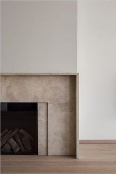 Beige Tan Marble Travertine Fireplace with drywall surround. Simple modern design with one minimal inlay. # fireplace minimal, Take A Look Inside the Picturesque Tribeca Duplex of Designer Beth Bugdaycay Interior, Home Fireplace, Marble Fireplaces, Fireplace Design, Modern, House Interior, Fireplace Mantels, Modern Fireplace, Interior Design