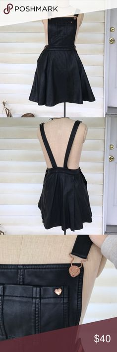 Kendal and Kylie faux leather jumper Super cute faux leather jumper! Perfect for a 90s vibe! Size M but definitely fits more like a small    ❁ I will only trade for Free People items.  ❁ All sales are final.   ❁All Free People items will come in FP bag.  ❁ Let me know if you have any questions! I'll do my best to be as helpful as possible. Kendall & Kylie Pants Jumpsuits & Rompers