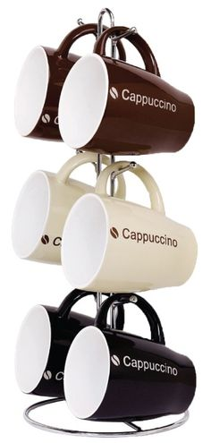 HOME BASICS 6-PIECE MUG SET WITH STAND - CAPPUCCINO