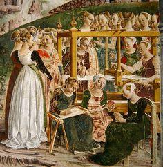 Artist Francesco del Cossa (1436–1487) Title The Triumph of Minerva: March, from the Room of the Months, detail of the weavers, c.1467-70, by Francesco del Cossa Date 1467-1470 Medium fresco Current location Deutsch: Palazzo Schifanoia (Ferrara)